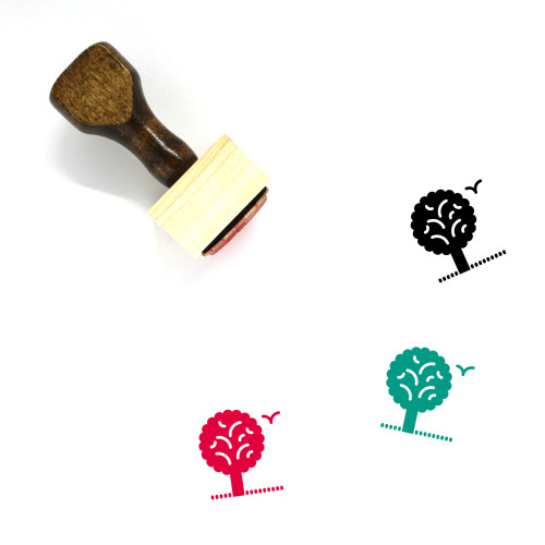 """""""Nature"""" wooden rubber stamp with 3 sample imprints of the image"""