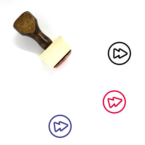 """""""Forward"""" wooden rubber stamp with 3 sample imprints of the image"""