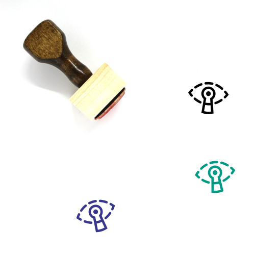 """""""Spying"""" wooden rubber stamp with 3 sample imprints of the image"""