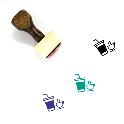 """""""Bar"""" wooden rubber stamp with 3 sample imprints of the image"""