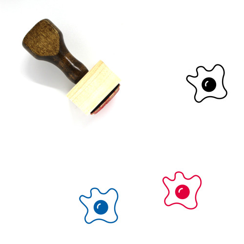 """""""Omelette"""" wooden rubber stamp with 3 sample imprints of the image"""