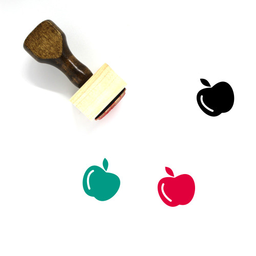 """""""Apple"""" wooden rubber stamp with 3 sample imprints of the image"""