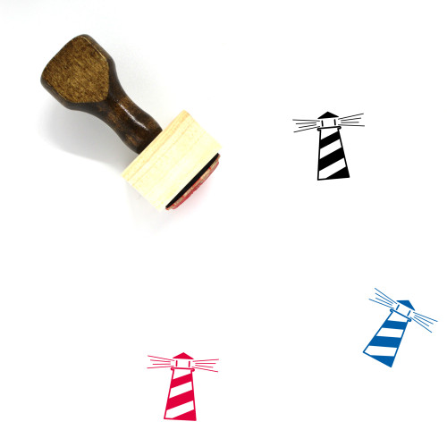 """""""Light House"""" wooden rubber stamp with 3 sample imprints of the image"""