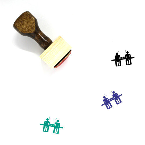 """""""Communication"""" wooden rubber stamp with 3 sample imprints of the image"""