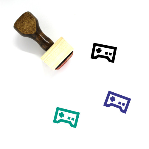 """""""Gamepad"""" wooden rubber stamp with 3 sample imprints of the image"""