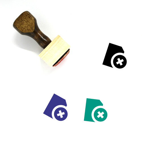 """""""Remove File"""" wooden rubber stamp with 3 sample imprints of the image"""