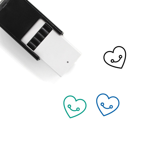 """""""Heart"""" self-inking rubber stamp with 3 sample imprints of the image"""