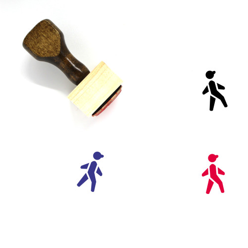 """""""Walking"""" wooden rubber stamp with 3 sample imprints of the image"""