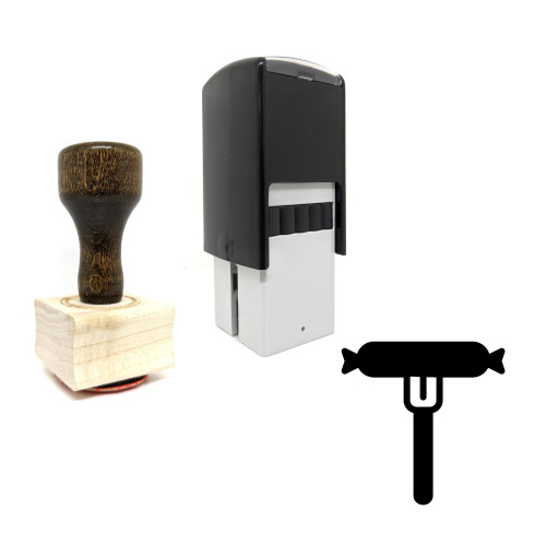 """""""Sausage"""" rubber stamp with 3 sample imprints of the image"""