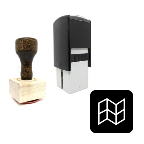 """""""Map"""" rubber stamp with 3 sample imprints of the image"""