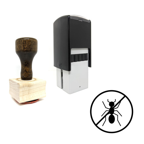 """""""No Ants"""" rubber stamp with 3 sample imprints of the image"""