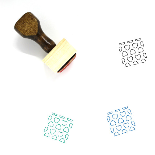 Heart Pattern Wooden Rubber Stamp No. 12