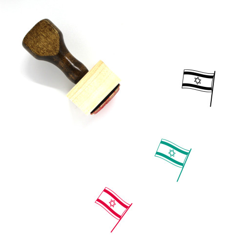 Flag Of Israel Wooden Rubber Stamp No. 3