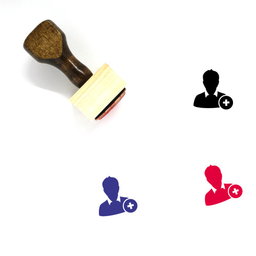 Add User Wooden Rubber Stamp No. 16