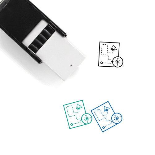 Map And Compass Self-Inking Rubber Stamp No. 1
