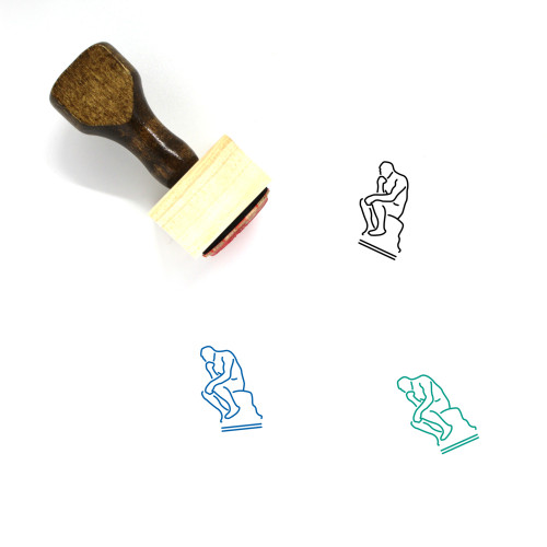 The Thinker Wooden Rubber Stamp No. 1
