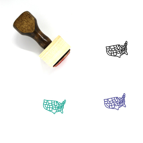 United States Map Wooden Rubber Stamp No. 3