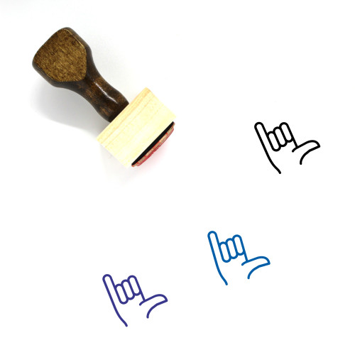 Shaka Sign Wooden Rubber Stamp No. 2