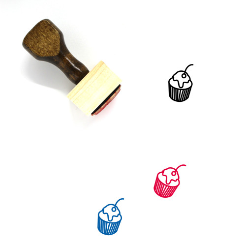 Cupcake Wooden Rubber Stamp No. 20