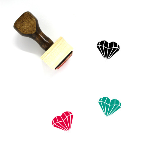 Diamond Heart Wooden Rubber Stamp No. 3