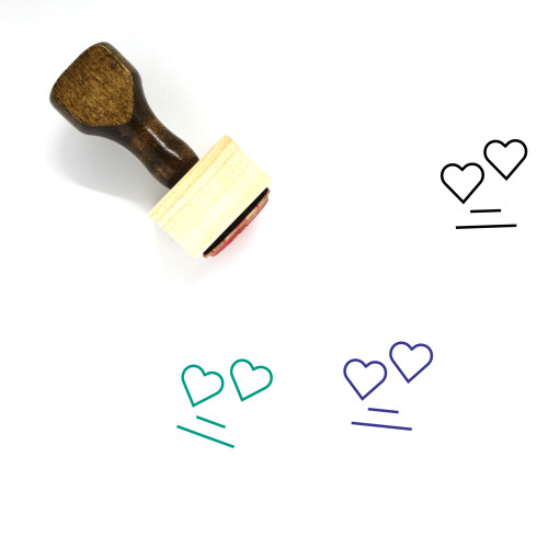 Hearts Wooden Rubber Stamp No. 82