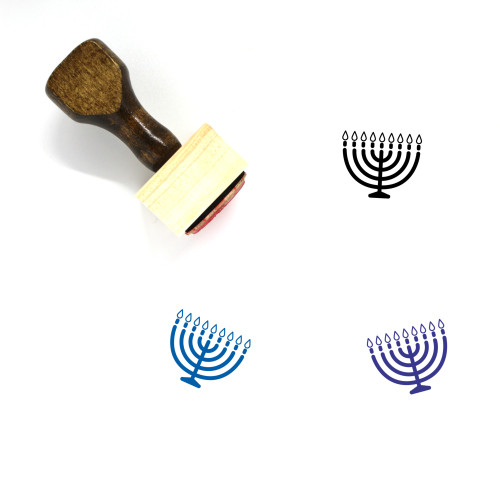Menorah Wooden Rubber Stamp No. 30