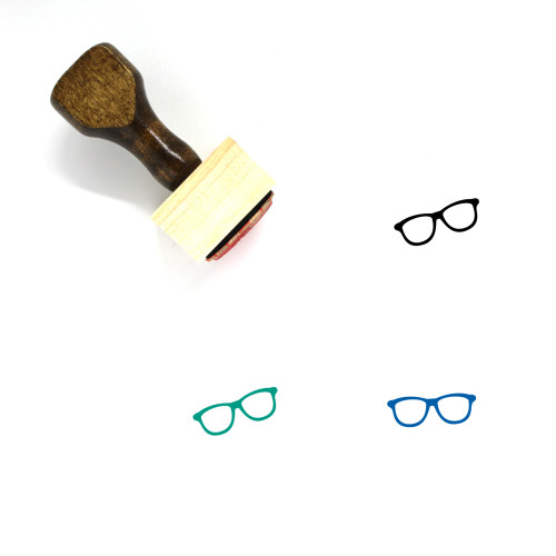 Glasses Wooden Rubber Stamp No. 16