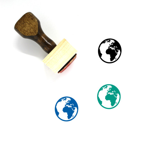 3D Globe Wooden Rubber Stamp No. 1
