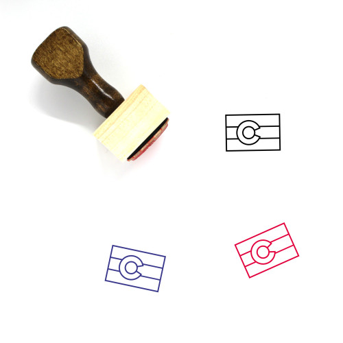 Colorado Flag Wooden Rubber Stamp No. 1