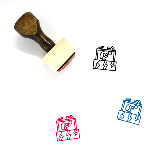 Earthquake Safety Measures Wooden Rubber Stamp No. 1