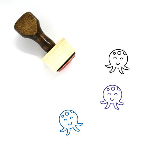 Octopus Wooden Rubber Stamp No. 9