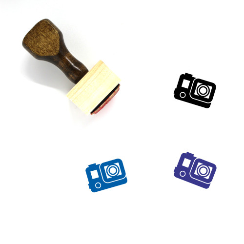 Action Camera Wooden Rubber Stamp No. 3