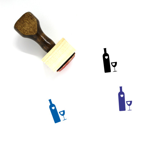 Wine Bottle And Glass Wooden Rubber Stamp No. 1