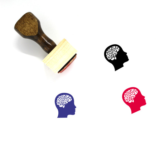 Brain Wooden Rubber Stamp No. 36