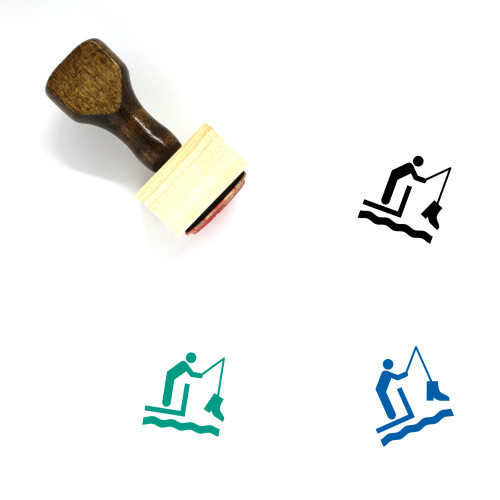 Fishing Wooden Rubber Stamp No. 5
