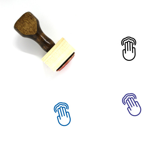 3X Double Tap Wooden Rubber Stamp No. 1
