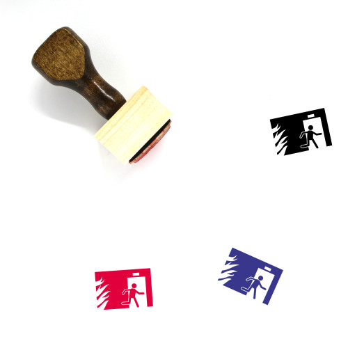 Fire Exit Wooden Rubber Stamp No. 3