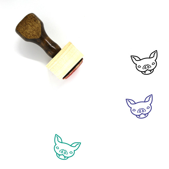 Bat Wooden Rubber Stamp No. 3