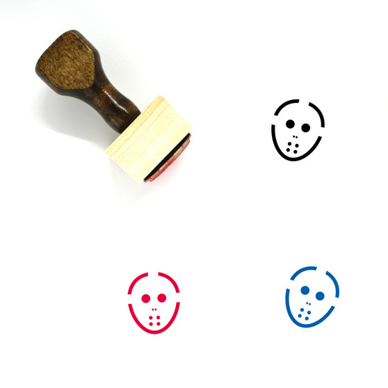 Hockey Mask Wooden Rubber Stamp No. 4