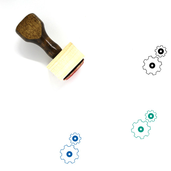 Gears Wooden Rubber Stamp No. 4