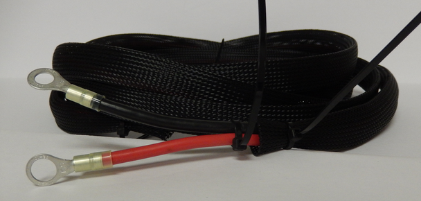 """Boat / RV Battery Power Cables 8 AWG With 3/8"""" Terminals Covered with braided sleeving."""