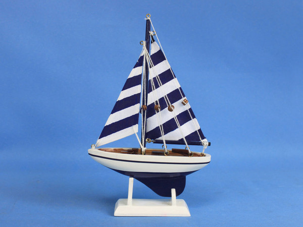 """Wooden Blue Striped Pacific Sailer Model Sailboat Decoration 9"""""""