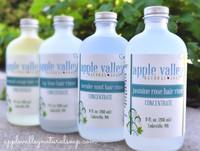 Citric Acid Hair Rinses in 4 varieties: Bay Lime, Lavender Mint, Jasmine Rose, and Bergamot Orange - from  Apple Valley Natural Soap