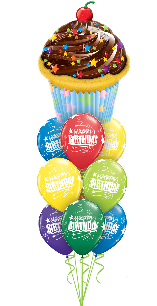 Birthday Balloon Bouquet With Cupcake