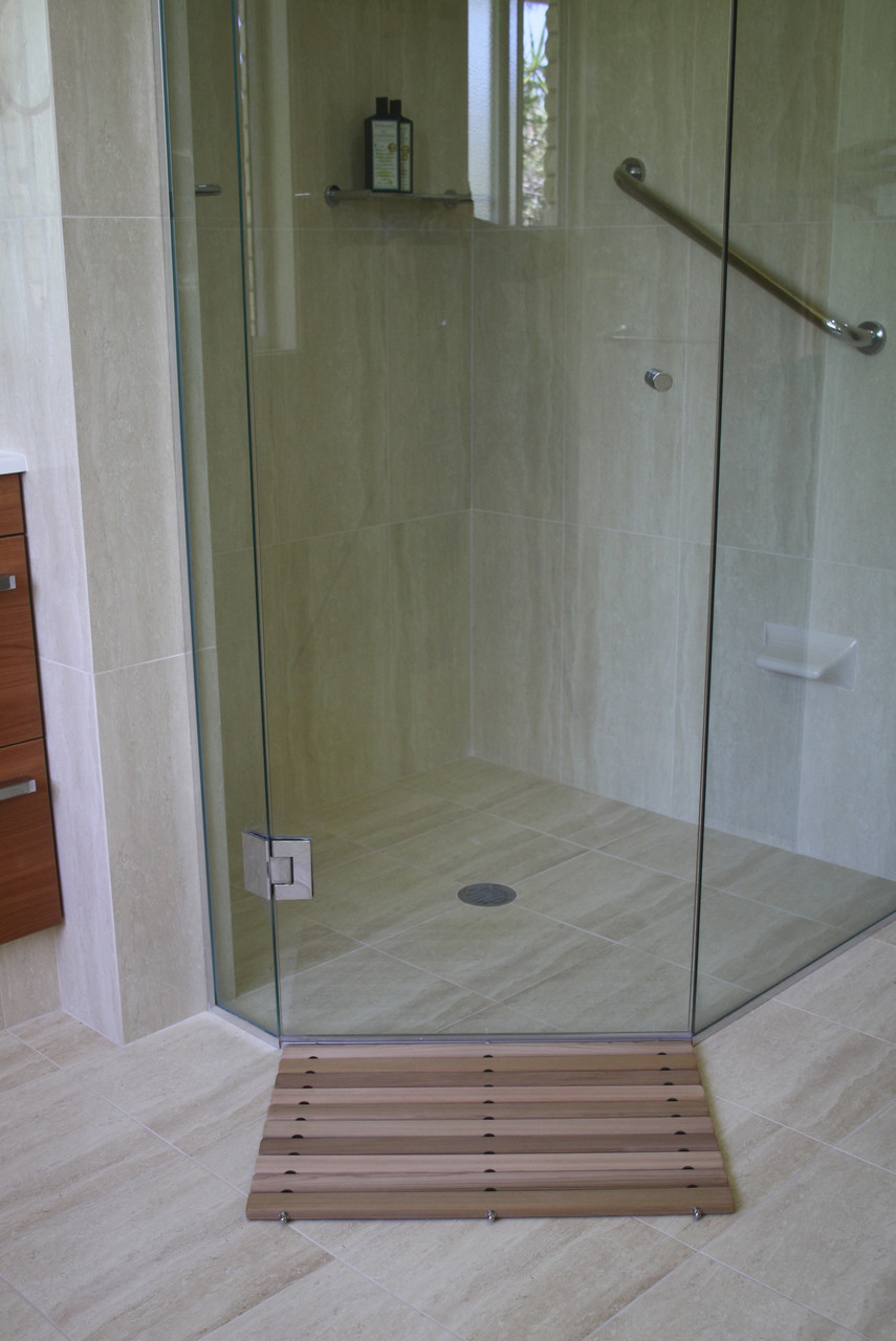Cedar Slimline Bath Mat Medium Wood Low Profile Bath