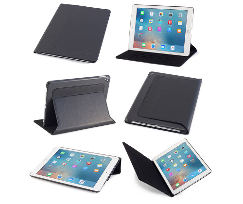 iPad Pro 9.7 Case, DEVICEWEAR Ridge - Thin Black Vegan Leather, 6 Position Flip Stand, Magnetic On/Off Switch for Apple iPad Pro 9.7 inch