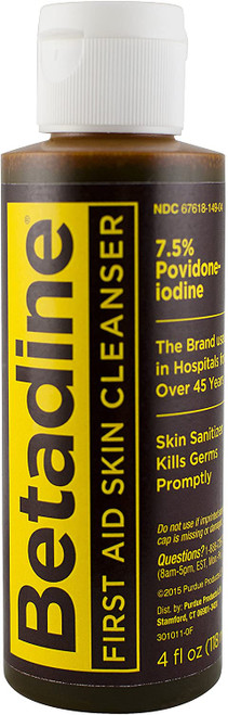 Betadine First Aid Skin Cleanser - Kills Germs Fast 4 oz