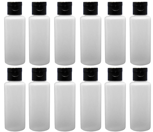 Travel Refillable BPA Free Cylinder Bottles with Flip Caps - 2 Oz