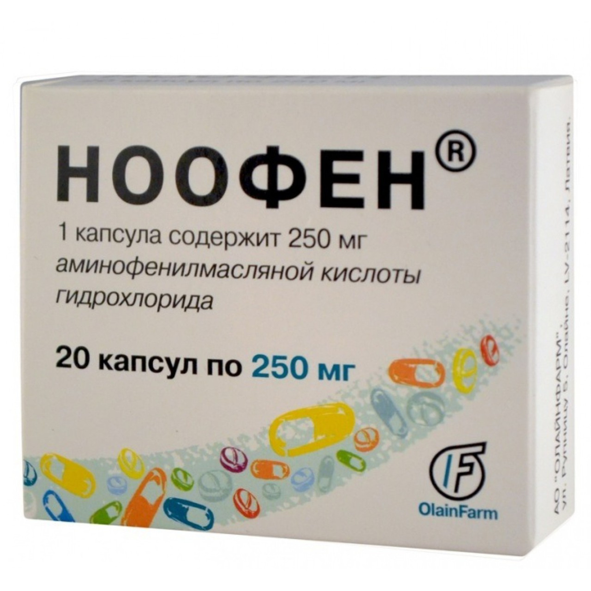NOOFEN® (Phenibut-R, GABA) 250 mg/tab, 20 tabs