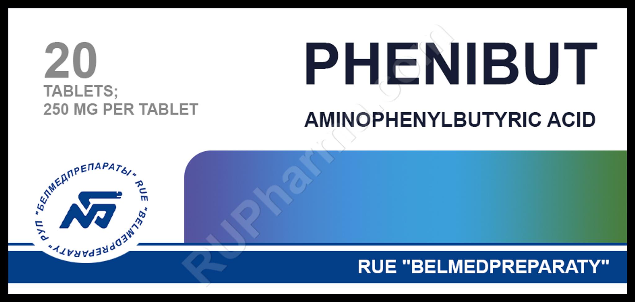 PHENIBUT® (Phenibut-R, Fenibut, Phenybut) 250 mg/tab, 20 tabs